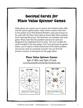 Decimal Review Game Cards