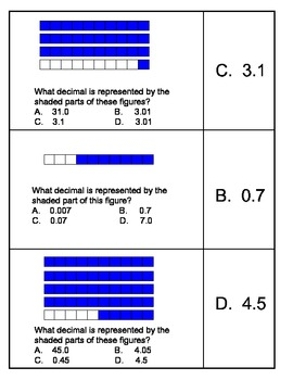 Decimal Shaded Region Cooperative Learning Cards