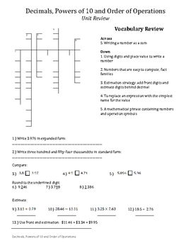 Decimals, Order of Operations, and Powers of 10 Study Guide