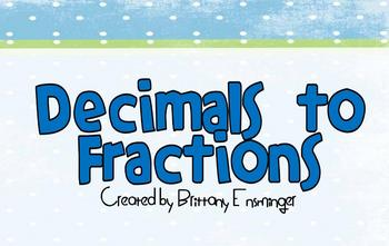 Decimals to Fractions Flipchart