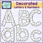 Decorated letters and numbers for coloring