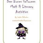 Dem Bones Math and Literacy Halloween Activities