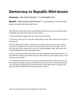 Democracy vs Republic Mini Lesson