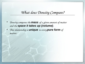Density Presentaton for Physical Science
