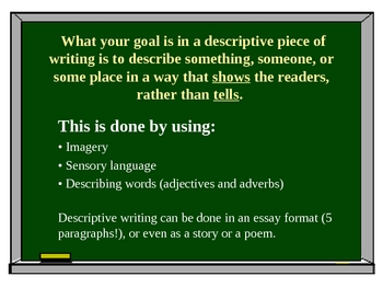 Descriptive Writing PowerPoint Presentation