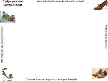 Design your own Surrealist Shoe Worksheet