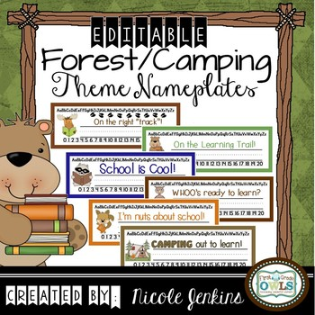 Desk Name Plates Camping Theme Any Grade