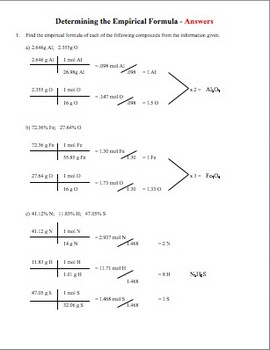 Determining Empirical Formulas Worksheet
