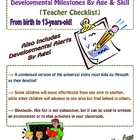 Developmental Milestones by Age & Skill (Teacher Checklist)