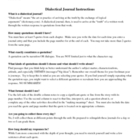 Dialectical Journal Instructions Sheet - Students 