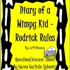 Diary of a Wimpy Kid - Rodrick Rules Comprehension Question Sheet