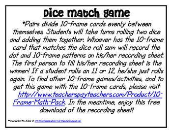 Dice Match Game with 10-Frames