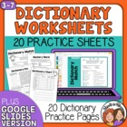 Dictionary Worksheets - 20 Ready-to-Use Pages + Answer Keys