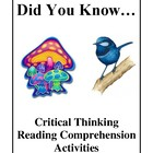 Did You Know, Critical Thinking Reading Comprehension Activities