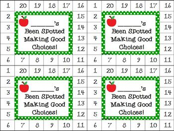 Differentiated Behavior Cards- Apples and Green Polka Dots