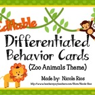 Differentiated Behavior Cards - Zoo Animals Theme