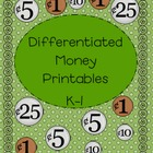 Differentiated Money Printables for K-1