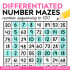 Differentiated Number Mazes for Each Decade (from 20 to 120)