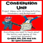 United States Constitution Unit, Writing Project Menu ,Voc