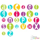 Digital Alphabet Crazy Bright Circles Clip Art