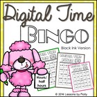 Digital Clock Bingo Time to the Hours and Half-hours Black