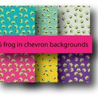 Digital Paper 12*12 Frogs in Chevron Backgrounds