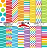 Digital Paper / Digital Background - Rainbow Pop