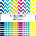 Digital Papers Bright Chevron and Checkers