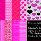 Digital Papers: Hugs and Kisses! Valentine's {for commercial use}