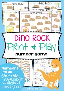 Dino Rock - Printable Math Center / Game / Activity - Numb