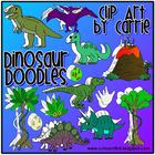 Dinosaur Doodles clip art (BW and full-color PNG images)