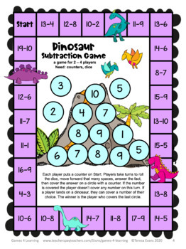 Dinosaur Subtraction Board Game