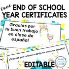 Diplomas and Certificates for Spanish class {Freebie}