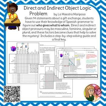 Direct and Indirect Object Pronoun Logic Problem  Spanish
