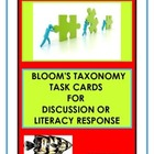 Discussion/Writing/Literacy Prompt Cards   Using Blooms 's