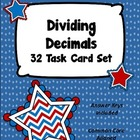 Dividing Decimals Task Card Set - Patriotic Theme