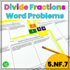 Dividing Fractions: Word Problems Pack 1 (5.NF.7)