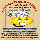 Divisibility Rule Poetry - Worksheet 3 and Mastery Test 3