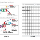 Division Math Vocabulary Skill Drill and Word Problem Application