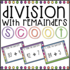 Division With Remainders SCOOT! (task cards/review game)