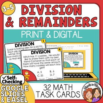 Division Word Problem Task Cards: Interpreting the Remainder