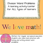 Division Word Problems Activity/Center-3rd-4th Regular/Special Ed