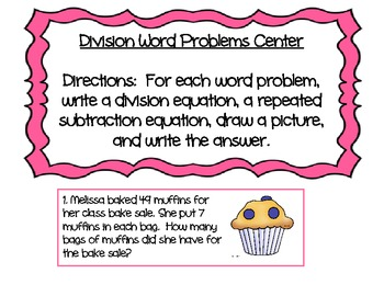 Division Word Problems center activity