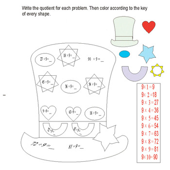 Division basic numbers with coloring pages