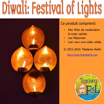 Diwali: Festival of Lights French Vocabulary Word Search
