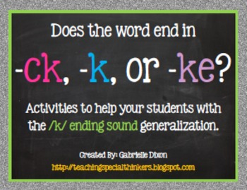 Does the word end in -ck, -k, or -ke?