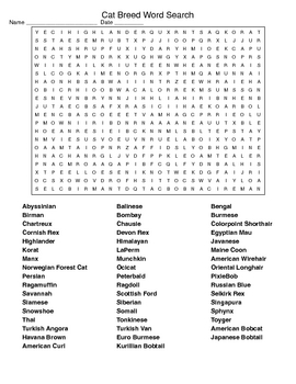 Dog Breed and Cat Breed Word Searches with KEYs
