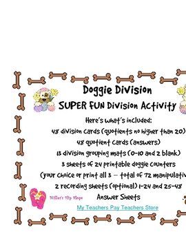 Doggie Division includes Fact Cards, Work Mats, Theme Coun
