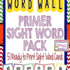 Dolch Pre-Primer High Frequency Word Cards - Chevron Prima