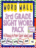 Dolch Third Grade High Frequency Word Cards - Chevron Prim